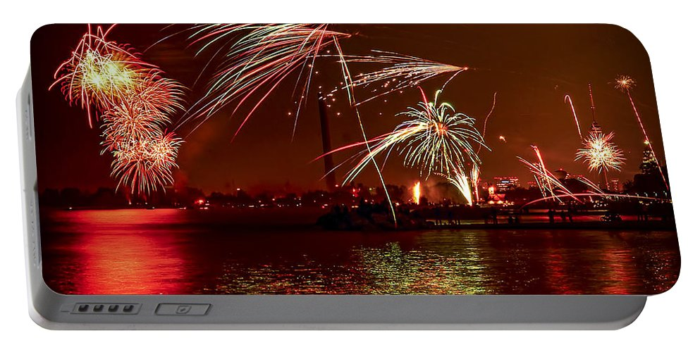 Toronto Portable Battery Charger featuring the photograph Toronto Fireworks by Elena Elisseeva