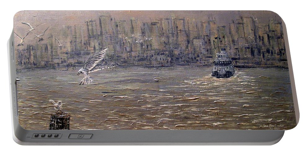 Toronto Portable Battery Charger featuring the painting Toronto Harbor Morning by Ian MacDonald