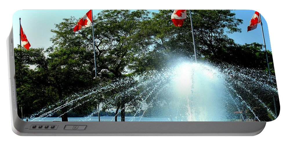 Toronto Portable Battery Charger featuring the photograph Toronto Island Fountain by Ian MacDonald