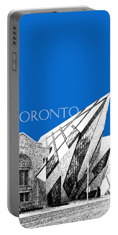 Architecture Portable Battery Charger featuring the digital art Toronto Skyline Royal Ontario Museum - Blue by DB Artist