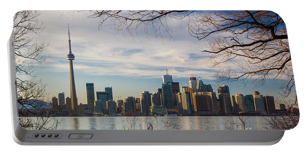 America Portable Battery Charger featuring the photograph Toronto Through The Trees by Inge Johnsson