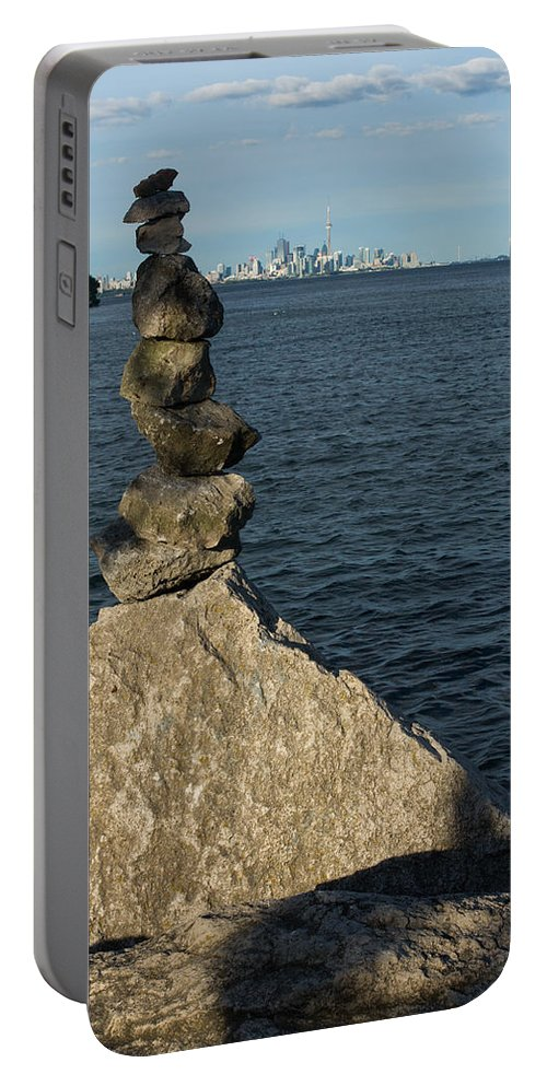 Sculpted Portable Battery Charger featuring the photograph Toronto's Cn Tower Sculpted From Natural Stones by Georgia Mizuleva