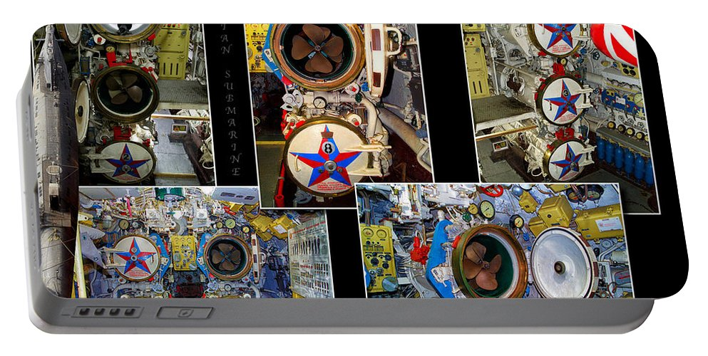 Submarine Portable Battery Charger featuring the photograph Torpedo Tubes Collage Russian Submarine by Thomas Woolworth