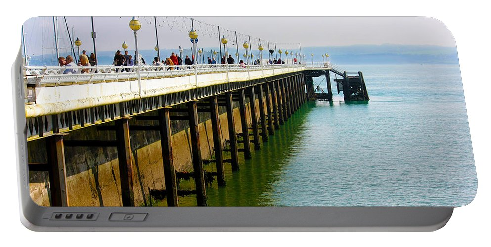 Torquay Portable Battery Charger featuring the photograph Torquay Princess Pier Devon by Terri Waters