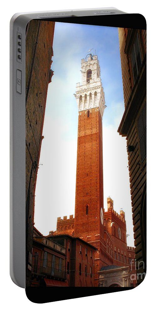 Tower Portable Battery Charger featuring the photograph Torre Del Mangia Siena by Mike Nellums