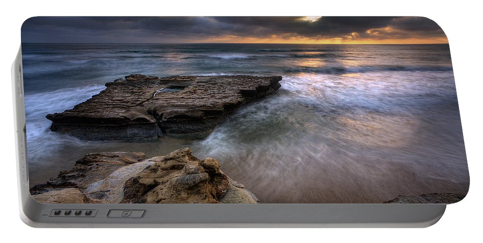 Beach Portable Battery Charger featuring the photograph Torrey Pines Flat Rock by Peter Tellone
