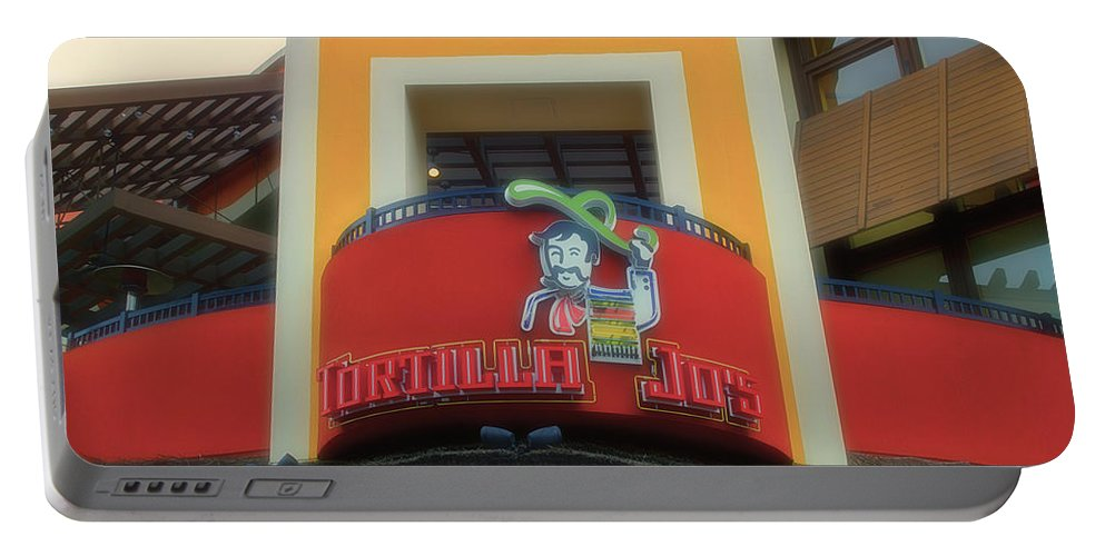 Disney Portable Battery Charger featuring the photograph Tortilla Jos Signage Downtown Disneyland by Thomas Woolworth