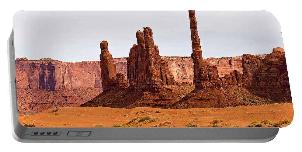 Monument Valley Portable Battery Charger featuring the photograph Totem Pole Buttes by Peter Tellone