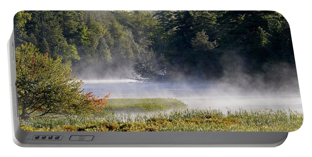Mist Portable Battery Charger featuring the photograph Touch Of Fall by Thomas Phillips