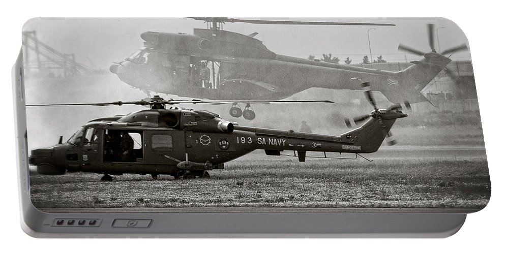 Agusta Westland Super Lynx 300 Portable Battery Charger featuring the photograph Touchdown by Paul Job