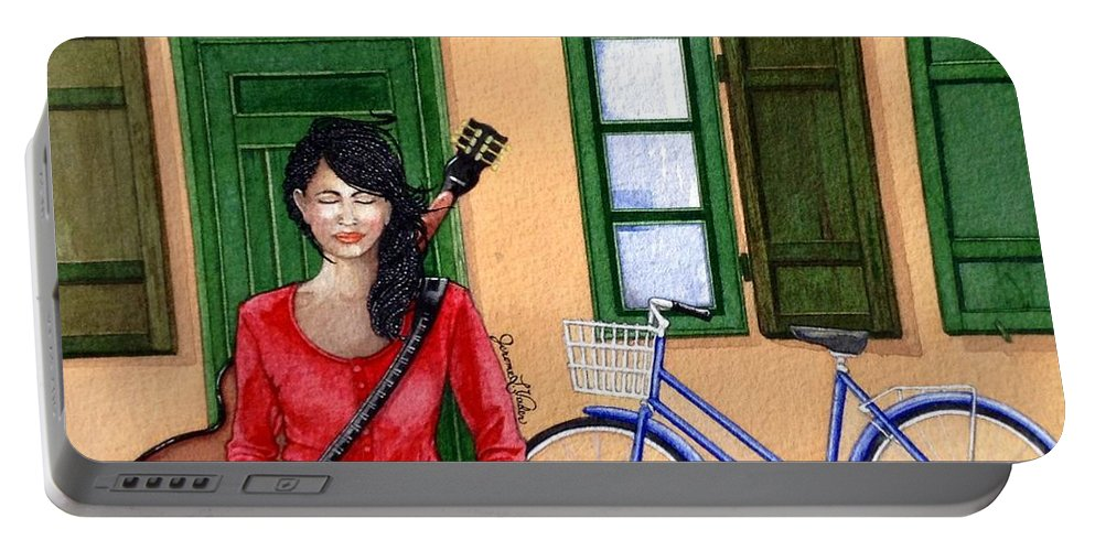 Watercolor Portable Battery Charger featuring the painting Touring by JL Vaden