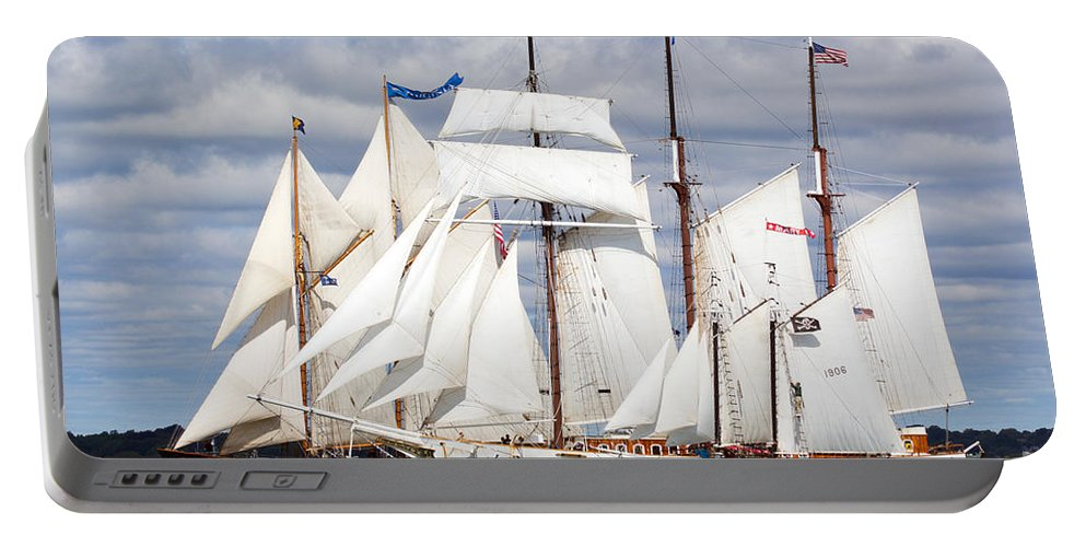 Yacht Portable Battery Charger featuring the photograph Toward The Finish by Joe Geraci