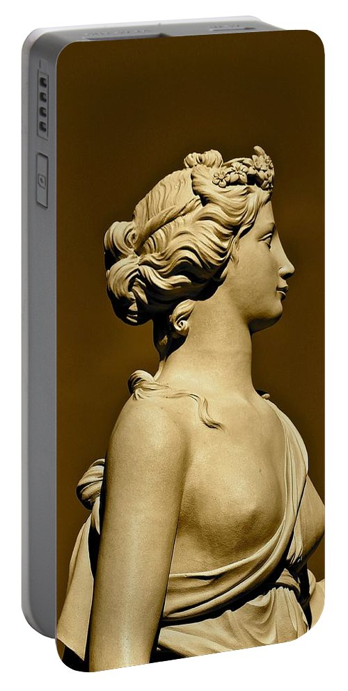 Sepia Portable Battery Charger featuring the photograph Tower Hill Garden Goddess by Michael Saunders