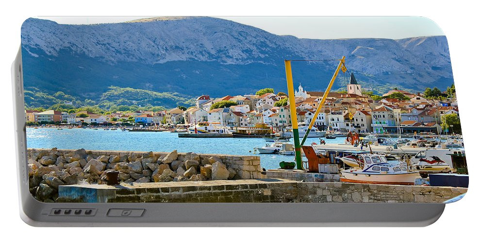 Croatia Portable Battery Charger featuring the photograph Town Of Baska Island Krk by Brch Photography