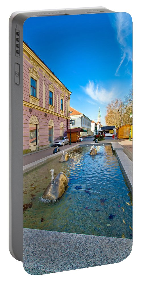 Croatia Portable Battery Charger featuring the photograph Town Of Bjelovar Square Fountain by Brch Photography