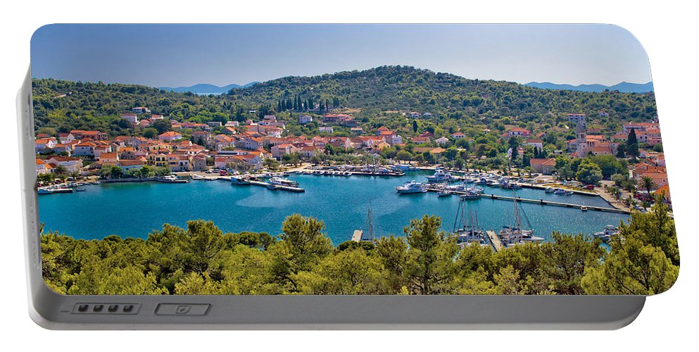 Croatia Portable Battery Charger featuring the photograph Town Of Kukljica Aerial View by Brch Photography