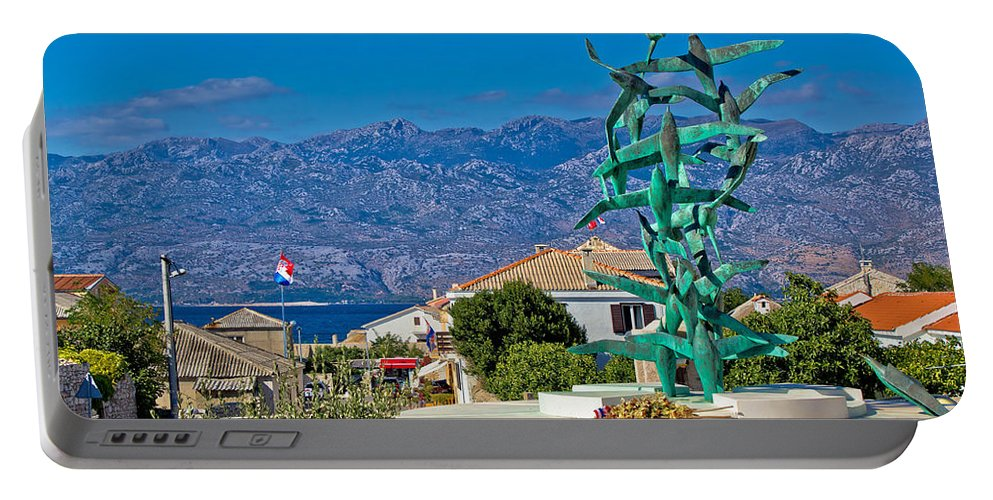 Croatia Portable Battery Charger featuring the photograph Town Of Razanac With Velebit Background by Brch Photography