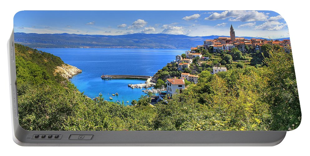 Croatia Portable Battery Charger featuring the photograph Town Of Vrbnik Green Landscape by Brch Photography