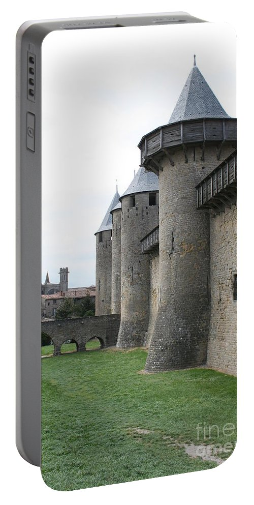 Historic Town Portable Battery Charger featuring the photograph Town Wall - Carcassonne by Christiane Schulze Art And Photography