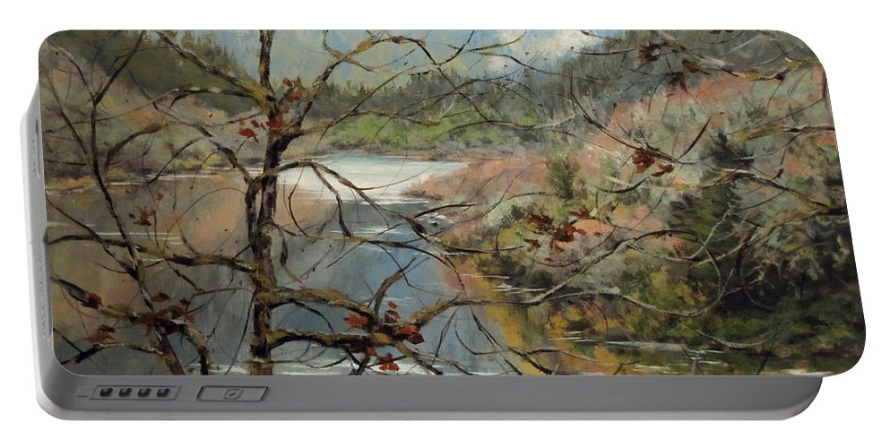 Landscape Portable Battery Charger featuring the painting Traces Of Autumn by Karen Ilari