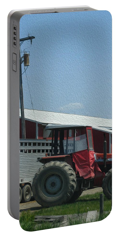 Farm Portable Battery Charger featuring the photograph Tractor - Digital Painting Effect by Rhonda Barrett