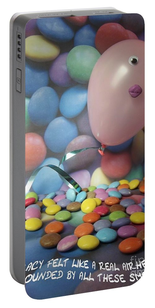Airhead Portable Battery Charger featuring the photograph Tracy Felt Like A Real Airhead Surrounded By All These Smarties by Caroline Peacock
