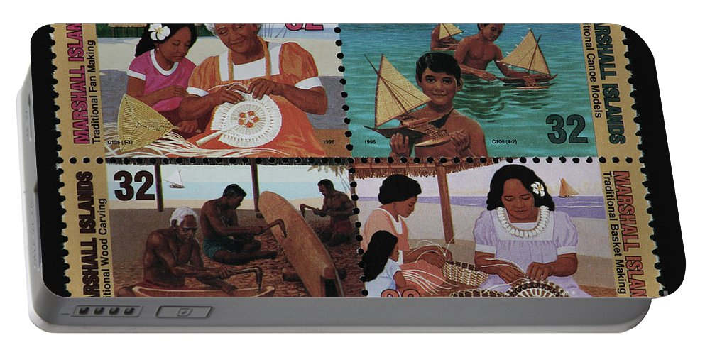 Marshall Islands Portable Battery Charger featuring the photograph Traditional Pacific Handicrafts Postage Stamp Print by Andy Prendy