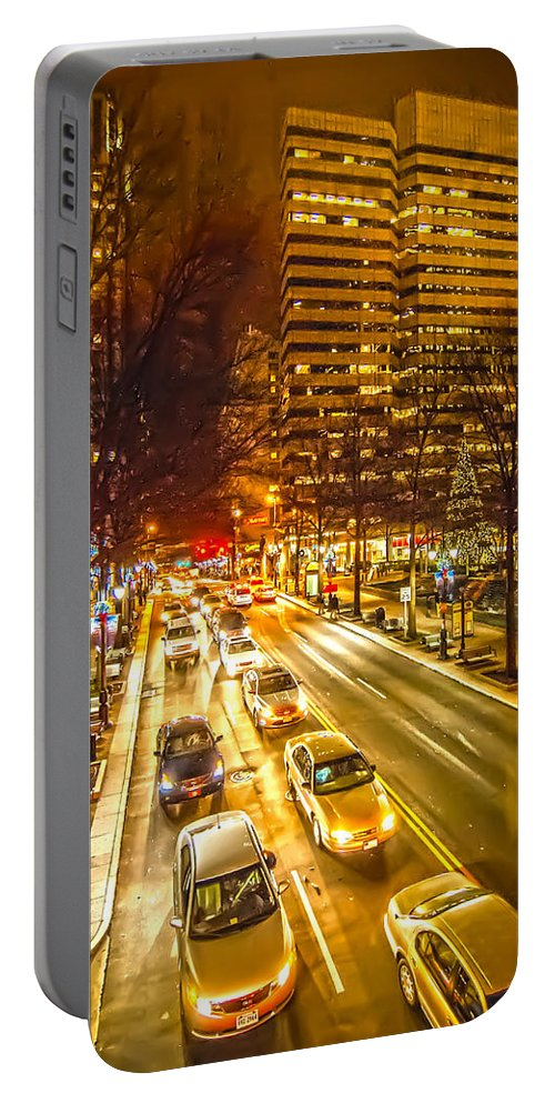 District Portable Battery Charger featuring the photograph Traffic In A Big City by Alex Grichenko