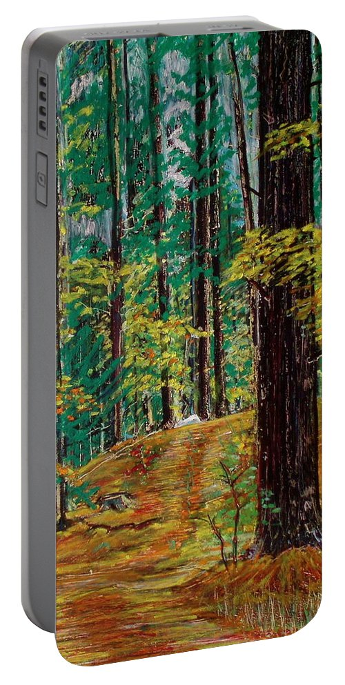 New Hampshire Portable Battery Charger featuring the pastel Trail At Wason Pond by Sean Connolly