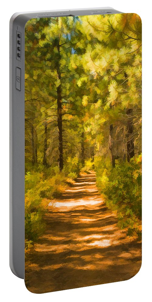 Trail Portable Battery Charger featuring the digital art Trail Through The Woods by Mick Burkey