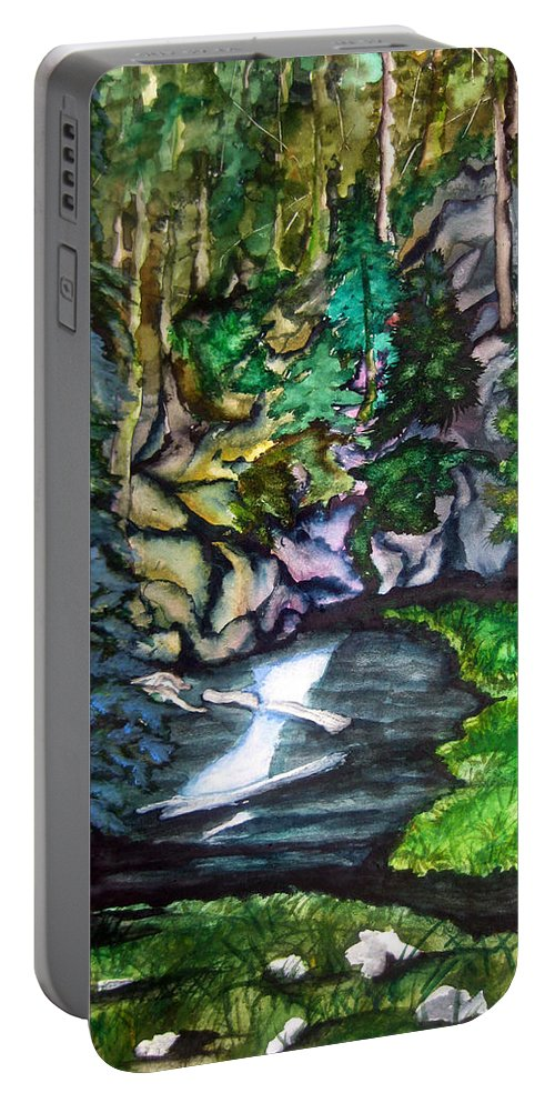 Lil Taylor Portable Battery Charger featuring the painting Trail To Broke-off by Lil Taylor