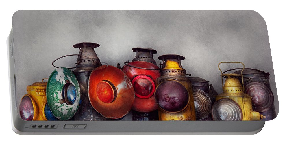 Lantern Portable Battery Charger featuring the photograph Train - A Collection Of Rail Road Lanterns by Mike Savad