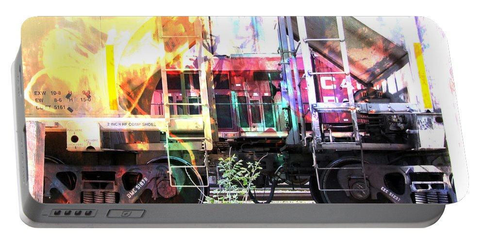 Train Portable Battery Charger featuring the digital art Train Abstract Blend 1 by Anita Burgermeister