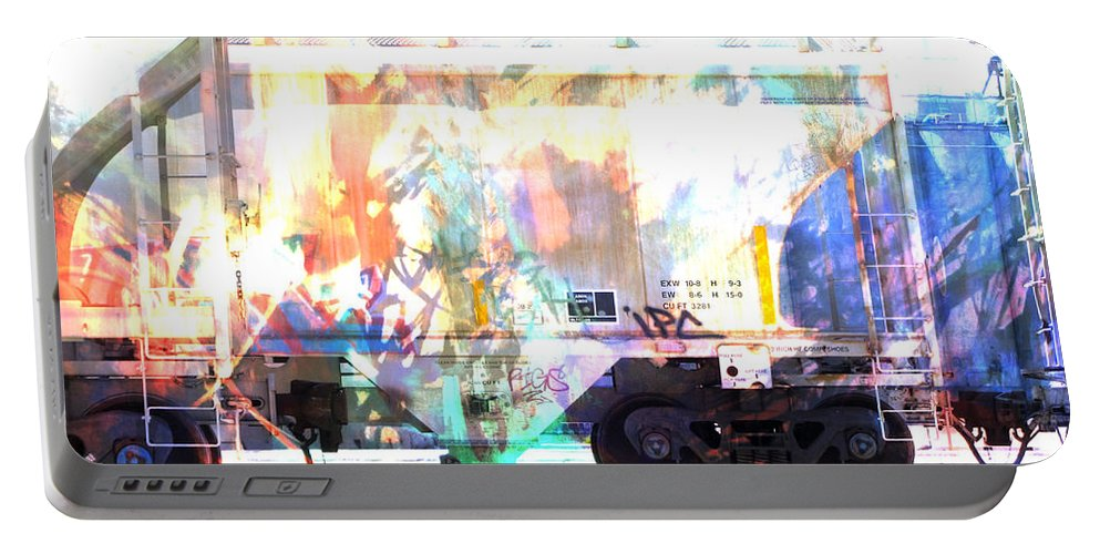 Train Portable Battery Charger featuring the digital art Train Abstract Blend 4 by Anita Burgermeister