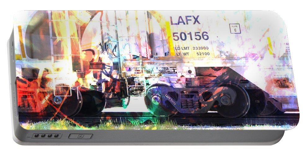 Train Portable Battery Charger featuring the digital art Train Abstract Blend 6 by Anita Burgermeister