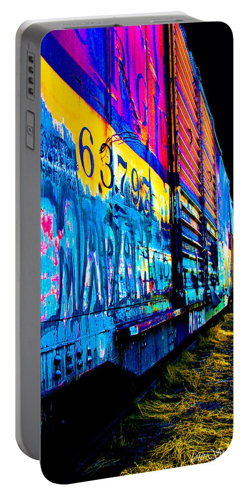 Train Portable Battery Charger featuring the photograph Train Funk I by Jacquelyn Crady
