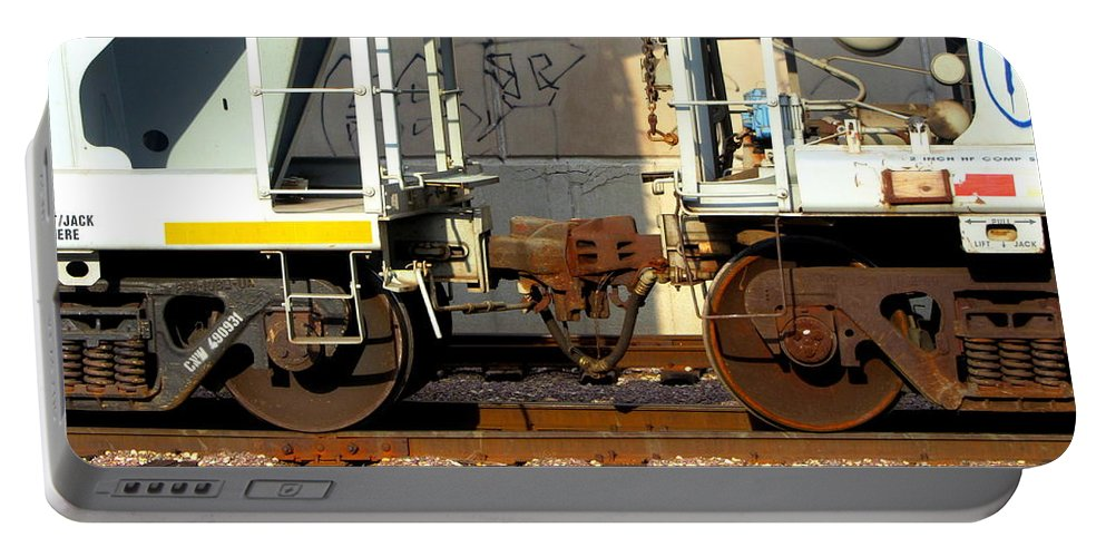 Train Portable Battery Charger featuring the photograph Train Yard Close Up 5 by Anita Burgermeister