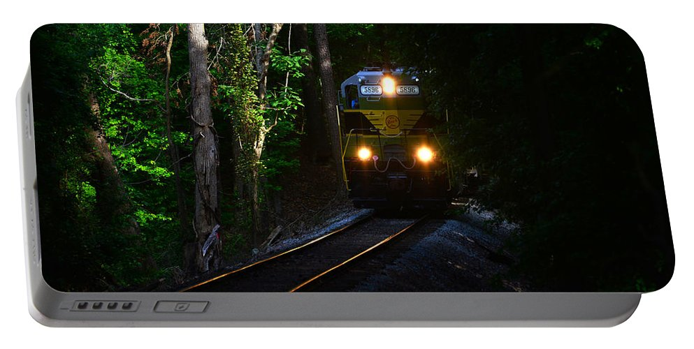 Train Portable Battery Charger featuring the photograph Rails Through The Wilderness by David Lee Thompson