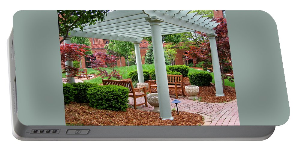 Courtyard Portable Battery Charger featuring the photograph Tranquil Courtyard by Ann Horn