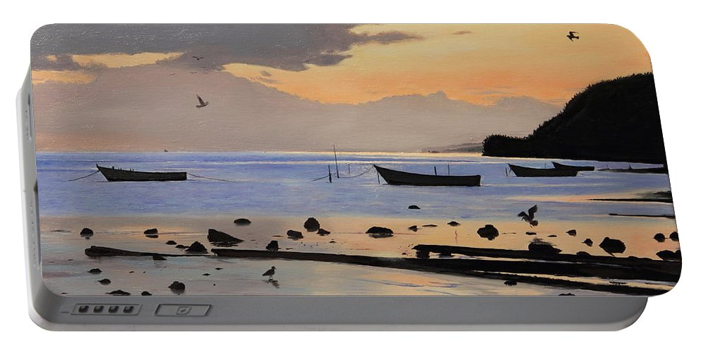 Seascape Portable Battery Charger featuring the painting Tranquil Dawn by Glenn Beasley