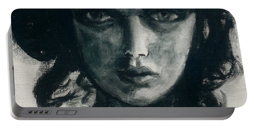 Portrait Art Portable Battery Charger featuring the painting Portait Of Beatcee May by Jarmo Korhonen aka Jarko