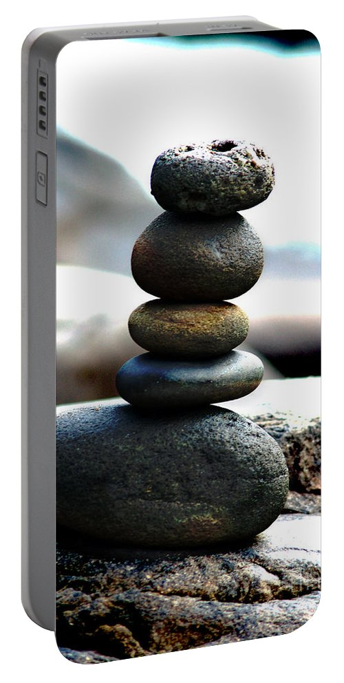 Rocks Portable Battery Charger featuring the photograph Tranquility by Lj Lambert