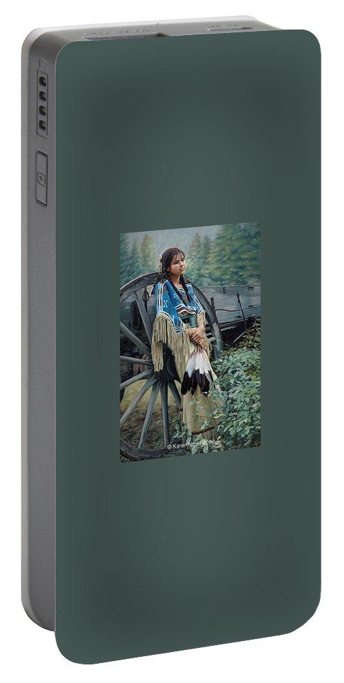 Karen Noles Portable Battery Charger featuring the digital art Tranquill Dreamer by Karen Noles