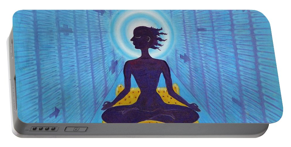 Transcendental Portable Battery Charger featuring the painting Transcendental Meditation by Usha Shantharam