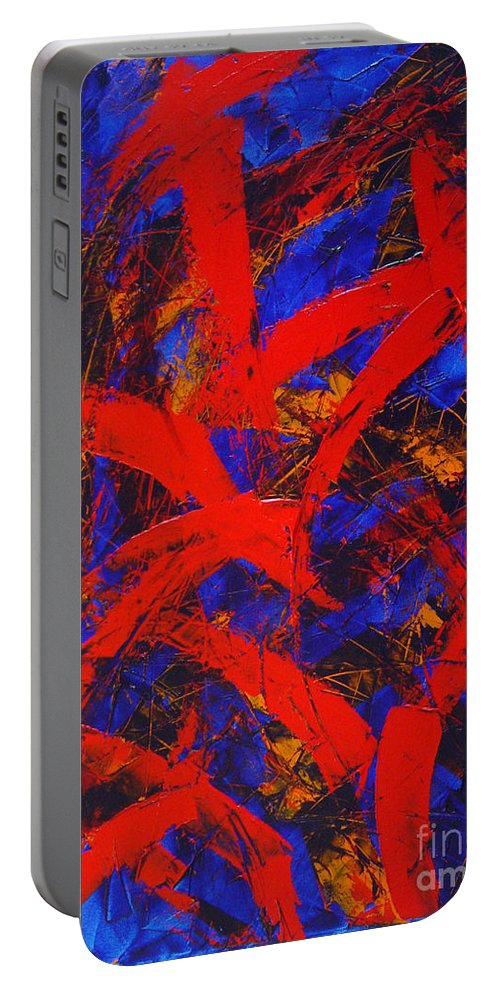 Abstract Portable Battery Charger featuring the painting Transitions With Blue And Red by Dean Triolo