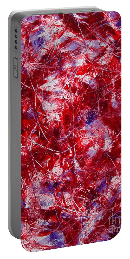 Abstract Portable Battery Charger featuring the painting Transitions With White Red And Violet by Dean Triolo