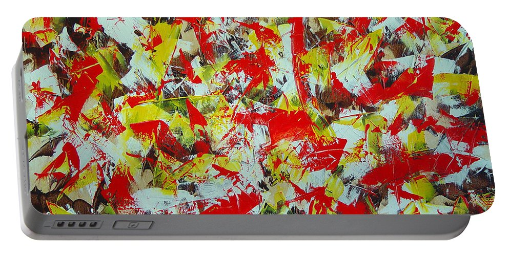 Abstract Portable Battery Charger featuring the painting Transitions With Yellow Brown And Red by Dean Triolo