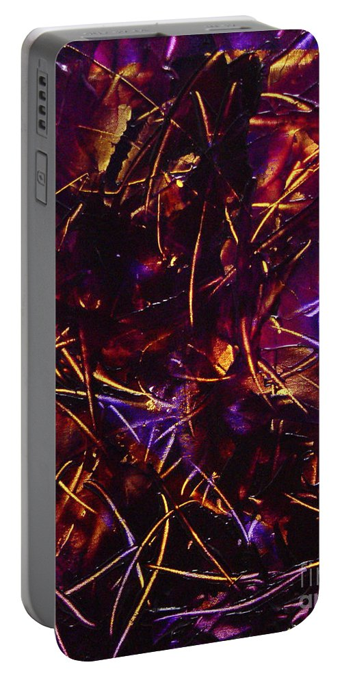 Abstract Portable Battery Charger featuring the painting Transitions X by Dean Triolo