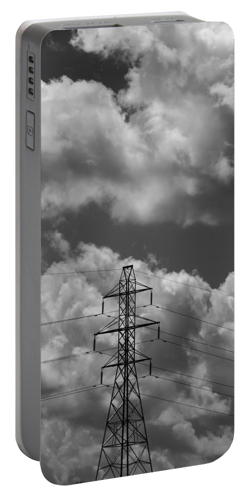 Transmission Tower In Storm Portable Battery Charger featuring the photograph Transmission Tower In Storm by Dan Sproul