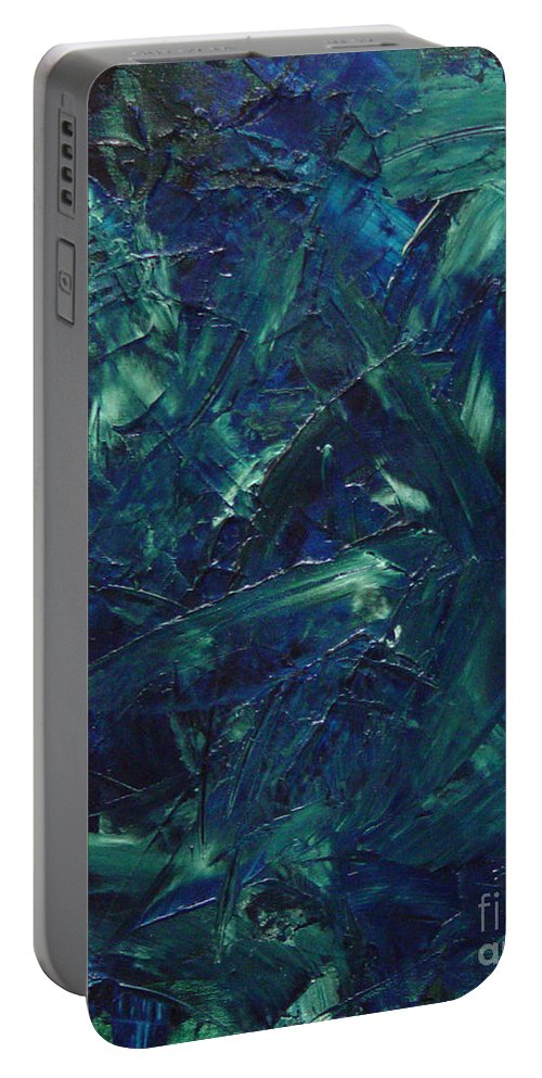 Abstract Portable Battery Charger featuring the painting Transtions Xi by Dean Triolo